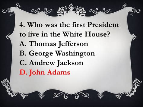 U S Presidents Trivia Quiz Number From 1 15 In Your