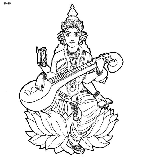 coloring pages of indian gods goddess saraswati coloring page abstract pinterest