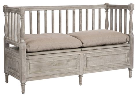 country benches indoor damita french country weathered gray high back storage