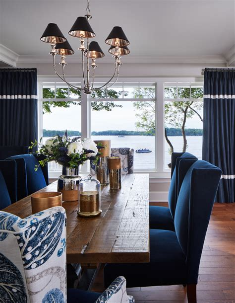 Blue And White Dining Room Luxurious Lakeside Cottage With Timeless Coastal Interiors Home Bunch Interior Design Ideas