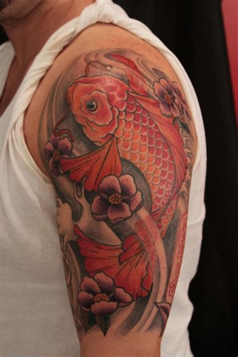 koi fish in tattoo red koi fish tattoo on half sleeve tattoos pinterest