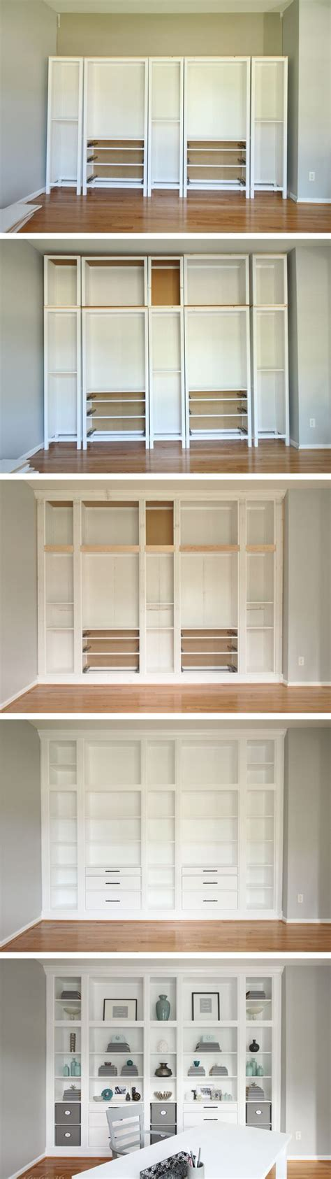 Diy Built In Bookcases Made With Ikea Hemnes Furniture Diy Custom Bookshelves
