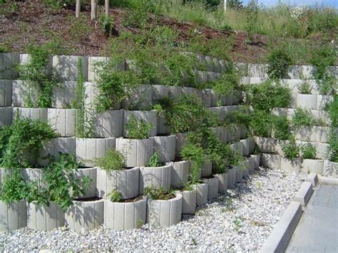 garden retaining wall ideas retaining wall ideas concrete planters as a supporting