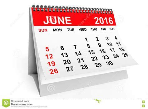 Kalender 2016 Juni Kalender Juni 2016 Het 3d Teruggeven Stock Illustratie