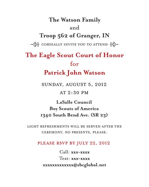 eagle scout court of honor program template court of honor invitation copy