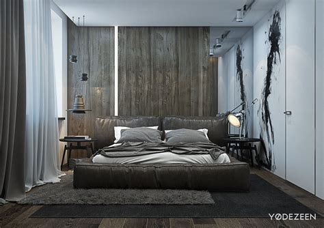 designing a bed a dark and calming bachelor bad with natural wood and concrete