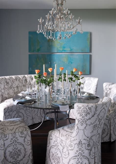 dining space featuring eclectic teal green dining chairs eclectic dining in gray and turquoise interiors by color