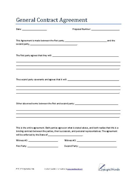 agreement contract template general contract agreement template business contract