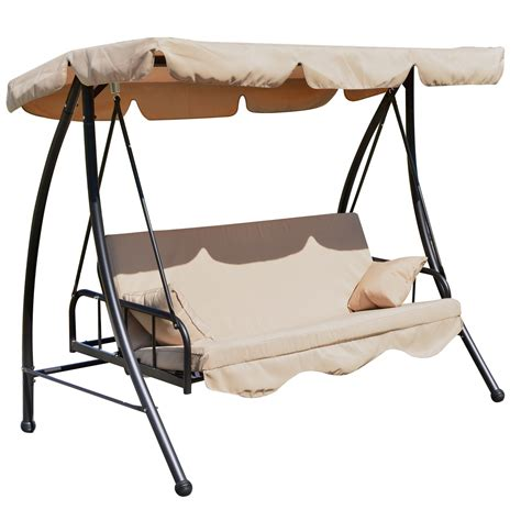 swinging bed frame outsunny 80 quot covered outdoor porch swing bed with frame