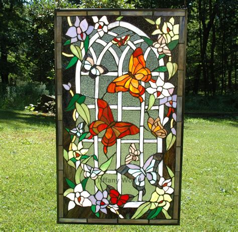 stained glass butterfly l 20 quot x 34 quot beautiful large stained glass window panel
