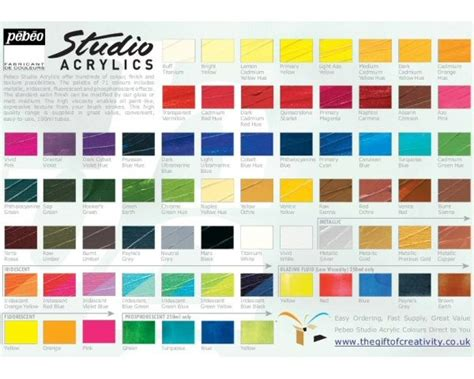 pebeo studio acrylics all colours 100ml