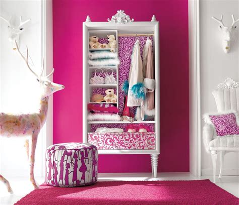 bedroom furniture with pink color and deer doll collection with pouffe and pink carpet