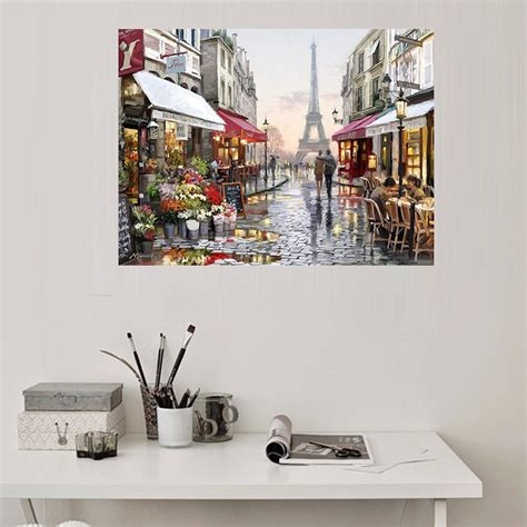 home decor canvas painting abstract city street landscape europe city street painting by numbers diy handpainted