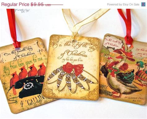 twelve days of christmas gift tags vintage inspired by