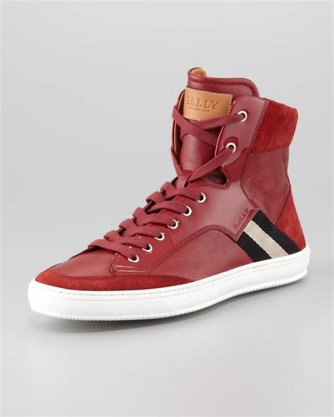 Bally Top lyst bally oldani mixed leather high top sneaker in