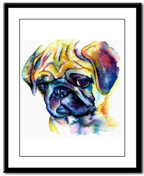 pug studying pug prints posters paintings pugs dogbreed gifts