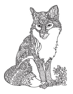christmas fox coloring page adult coloring pages