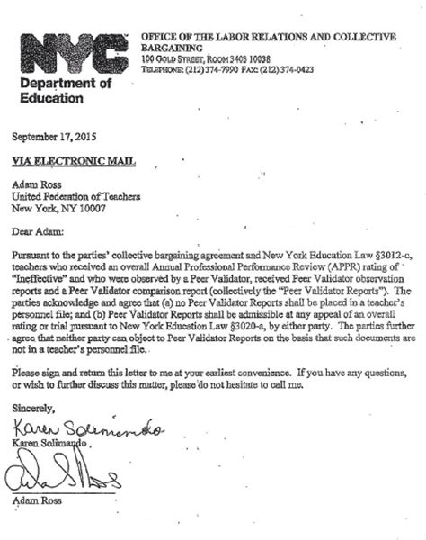 Tenure Evaluation Letter nyc rubber room reporter and atr connect the peer