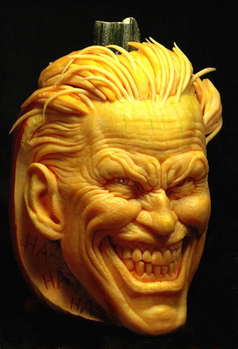 fashion and action joker two face carved pumpkins the