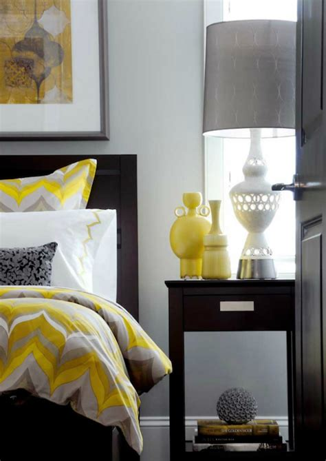 Yellow and gray bedroom contemporary bedroom atmosphere interior design