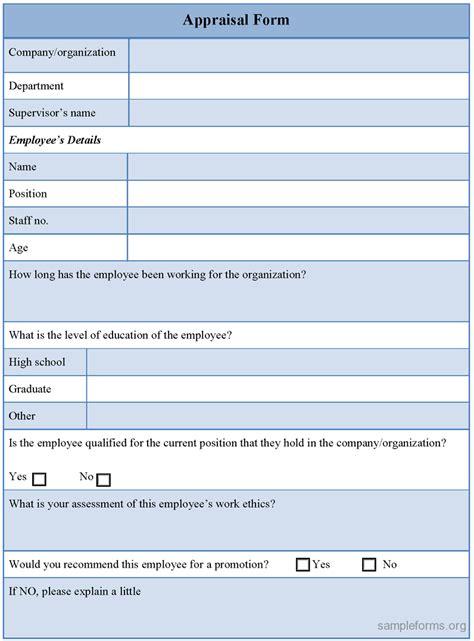 Form Templates sle appraisal form template sle forms