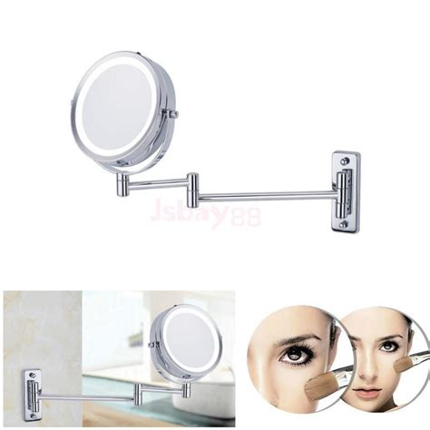 bathroom mirror wall mount with extension arm two sided swivel wall mount vanity mirror led lighted 5x