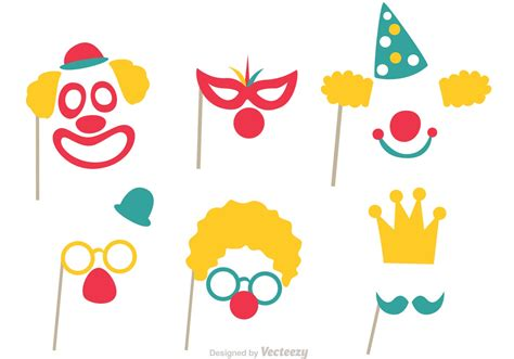 free printable photo booth props circus photobooth prop vector set download free vector art