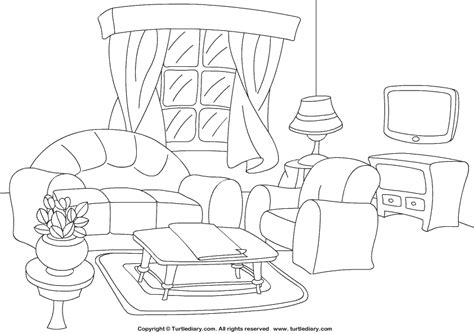 printable coloring pages rooms house living room coloring sheet turtle diary