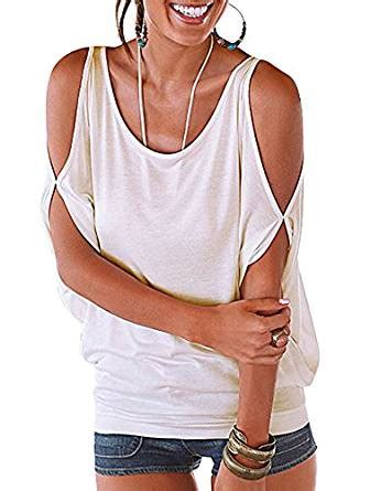 amazon off the shoulder shirts tops tees imixcity women s oversized cold shoulder blouse batwing