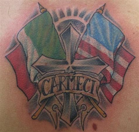 cross with italian american flags tattoo design tattoos