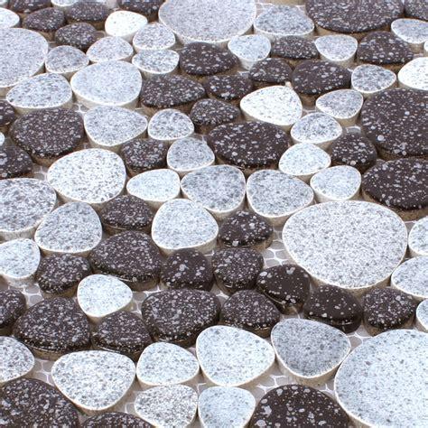 kiesel fliesen mosaikfliesen keramik kiesel optik schwarz weiss tm33539
