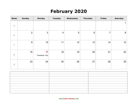 february  calendar printable leap year blank templates