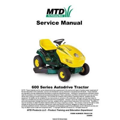 mtd yard man autodrive tractor 600 series service manual