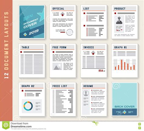 report design document template document report layout templates mockup set stock vector