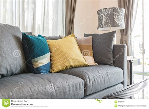 pillows for grey sofa colorful pillows on modern grey sofa in living room stock