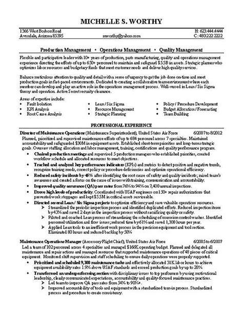 cv format for quality manager quality manager resume exle