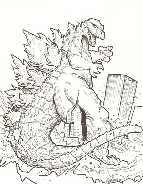 godzilla outline coloring pages print coloring