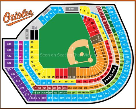 oriole park at camden yards baltimore md seating chart view