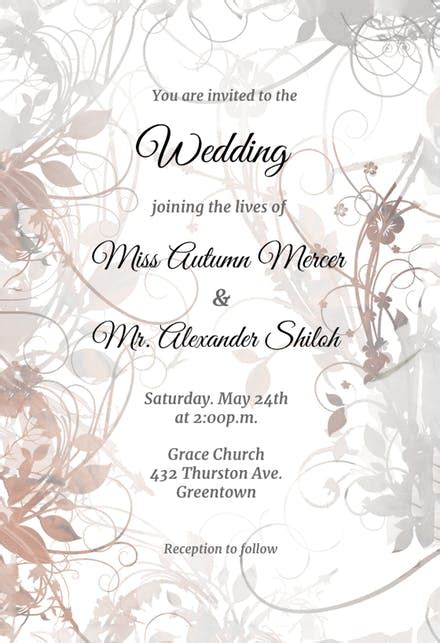 floral swirls wedding invitation template free greetings island
