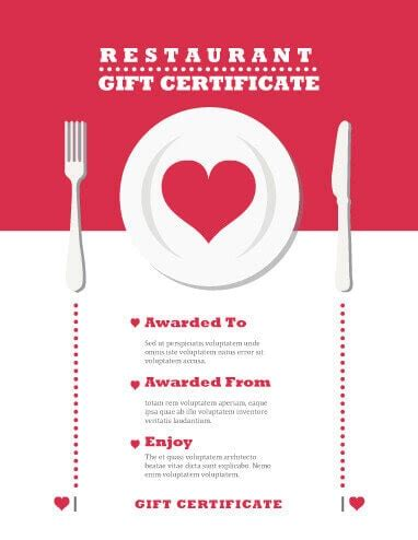printable gift certificates for restaurants 13 free printable gift certificate templates birthday
