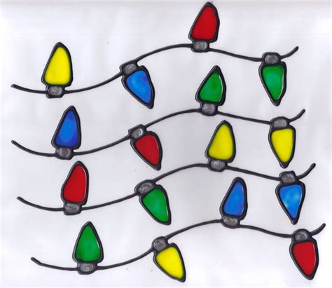 4 faux stained glass christmas light strands window clings