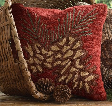 Pine Cone Hooked Pillow