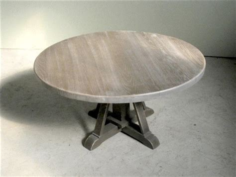 Driftwood Oak Coffee Table With Pedestal Base   Farmhouse