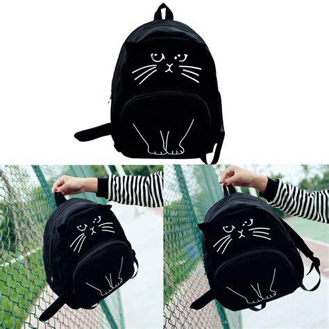 Tas Kucing Ransel tas ransel wanita model kucing 3d black