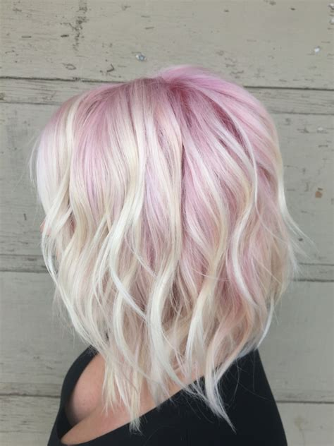 platinum bob with pastel highlights pastel pink and blonde hair pastel ombre long bob
