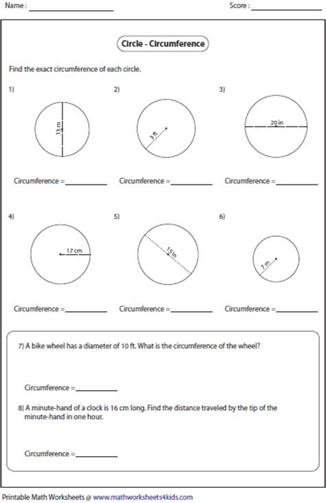 Circumference Of A Circle Worksheet by Circumference And Area Of Circle Worksheets
