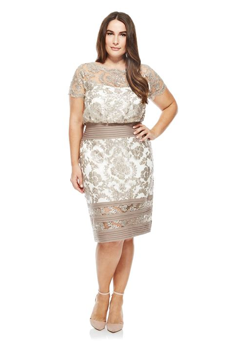 Lace Embroidered Dress blouson waist paillette embroidered lace dress plus size