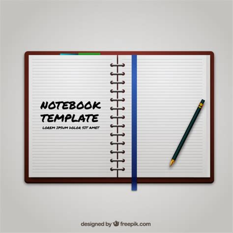 notebook template vector free download