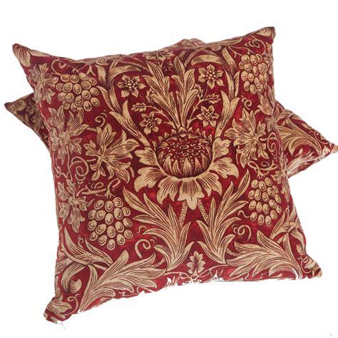 cushion upholstery william morris red velvet sunflower cushion