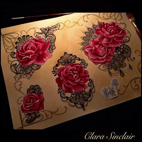 lace rose tattoo roses and lace flash set by clara sinclair tattoos